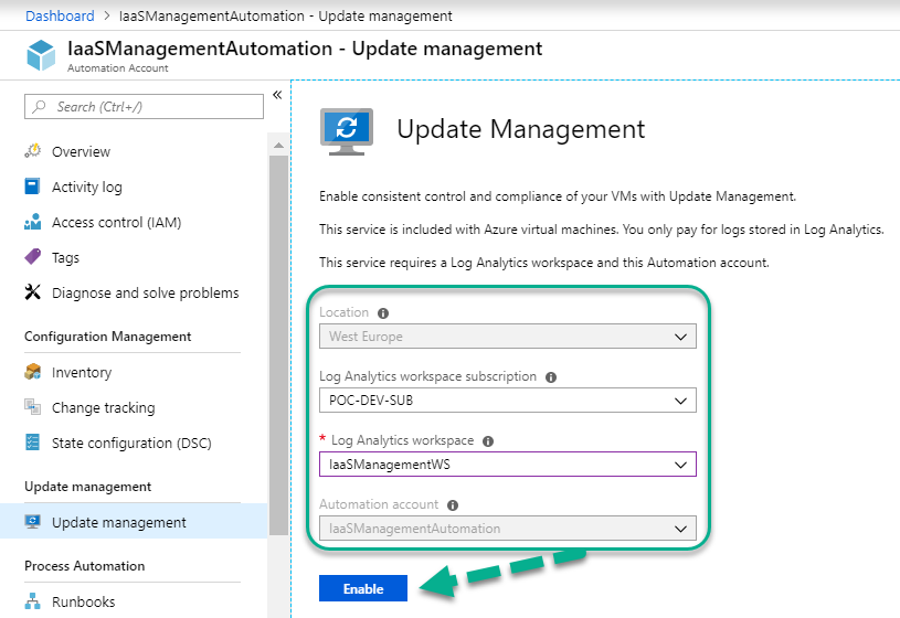 Getting started with Azure IaaS Inventory, Change Tracking and